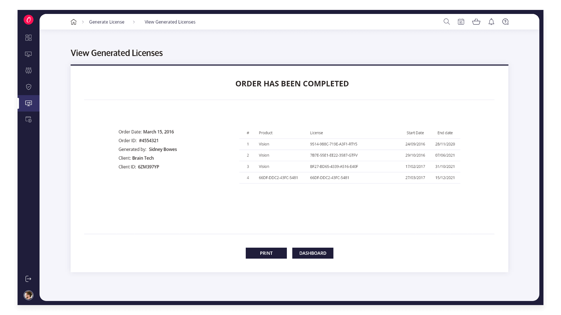 View Generated Licenses